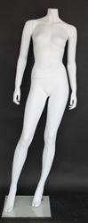 "Matte White Headless Female Mannequin 5'5"" Height"