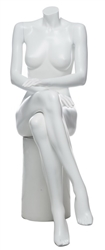 Matte White Female Headless Mannequin Sitting Hands On Lap