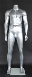 Silver Male Headless Mannequin Athletic