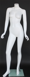Matte White Female Headless Mannequin Stylish Pose