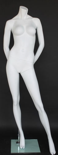 Matte White Female Headless Mannequin Hands Behind Back