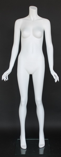"Matte White Female Headless Mannequin 5'5"" Height Hands Out"