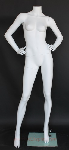Matte White Female Headless Mannequin Hands on Hips