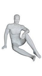 Matte White Male Egghead Mannequin Sitting - Hand on Knee