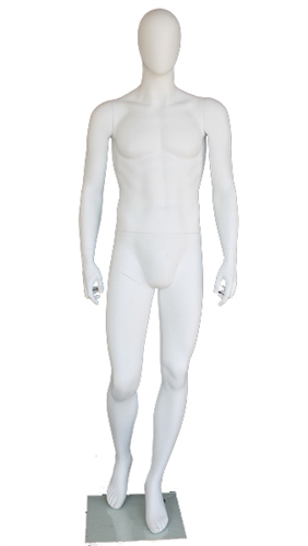 "6'3"" Abstract Matte White Toned Egghead Mannequin"