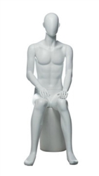 Matte White Male Egghead Mannequin Sitting - Straight Forward