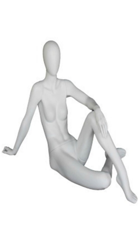 Matte White Female Egghead Mannequin Sitting on the Ground
