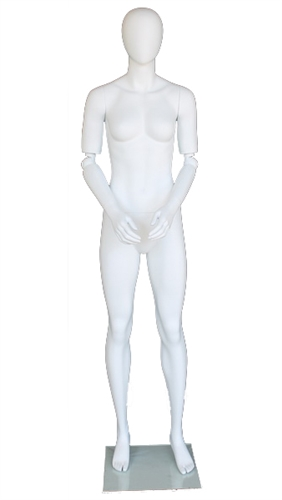 "5'11"" Abstract Matte White Egghead Female Mannequin with Adjustable Arms from ZingDisplay.com"