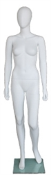 Matte White Contemporary Egg Face Female Mannequin - Left Leg Bent