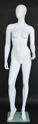 Matte White Contemporary Egg Face Female Mannequin - Right Leg Out
