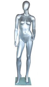 Metallic Silver Contemporary Egg Face Female Mannequin - Right Leg Out