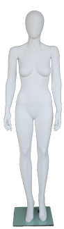 Matte White Contemporary Egg Face Female Mannequin - Right Leg Bent
