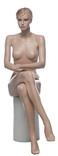 Realistic Female Mannequin with Molded Hair - Seated Pose