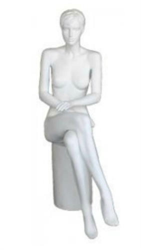 Matte White Female Realistic Hair Mannequin Sitting - Hands Crossed