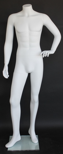 Matte White Male Headless Mannequin Hand on Hip
