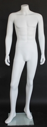 "Matte White Male Headless Mannequin 5'7"" Height"