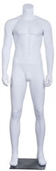 Matte White Male Headless Mannequin Muscular