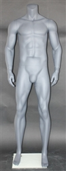 Grey Male Headless Mannequin Athletic Stance