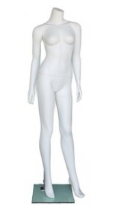"5'5"" Matte White Female Headless Mannequin"
