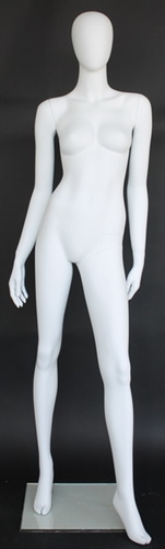 Matte White Female Egghead Mannequin Arms at Side