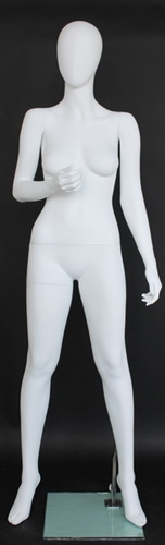 Matte White Female Egghead Mannequin Right Arm Bent