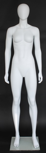 "Matte White Female Egghead Mannequin 5'11"" Height"