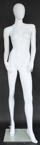 "Matte White Egghead Female Mannequin 5'11"" Height"