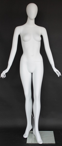 Matte White Female Egghead Mannequin Hands by Side
