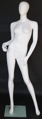 Matte White Female Egghead Mannequin Arm On Hip