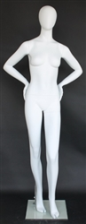 Matte White Female Egghead Mannequin Both Hands on Hips
