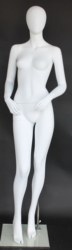 Matte White Female Egghead Mannequin Bent Arms