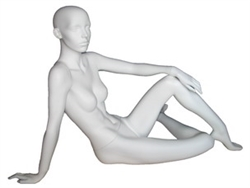 Matte White Female Abstract Mannequin Sitting on the Ground