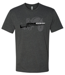 Best of the West t-shirt - Charcoal Gray with our Mountain Scout rifle
