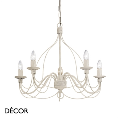 CORTE CHANDELIER, 5 ARM, ANTIQUE WHITE