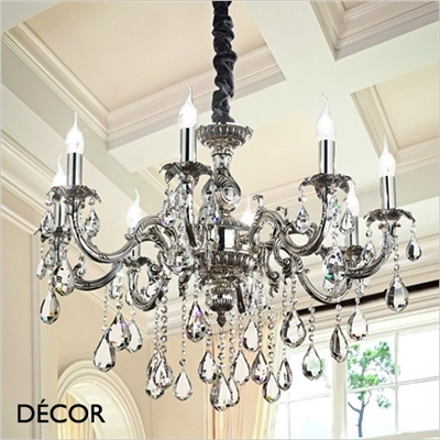 IMPERO CHANDELIER, 8 ARM, CLEAR GLASS & SILVER