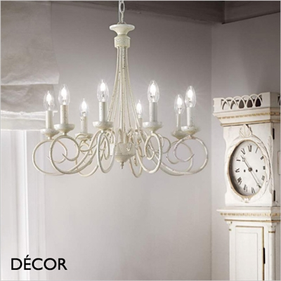 BRANDY CHANDELIER, 8 ARM, ANTIQUE WHITE