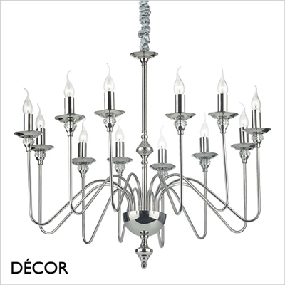 ARTU CHANDELIER, 12 ARM, NICKEL