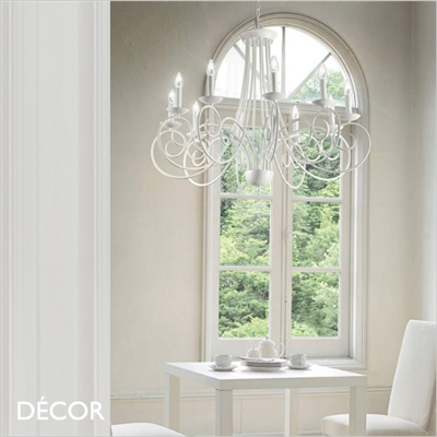 SEM CHANDELIER, 10 ARM, WHITE
