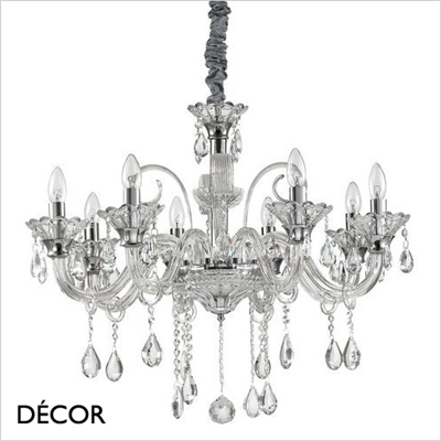 COLOSSAL CHANDELIER, 8 ARM, CLEAR GLASS
