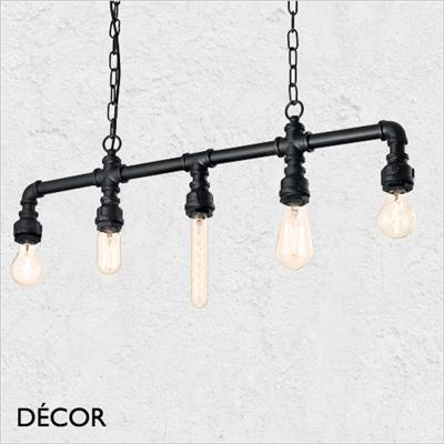 PLUMBER PENDANT LIGHT, BLACK, FIVE LAMPS