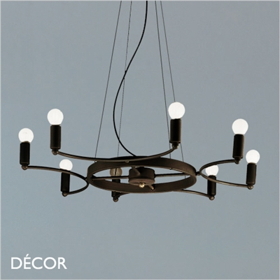 SPACE CHANDELIER, 8 ARM, BLACK