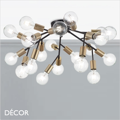SPARK TWENTY CEILING LIGHT, BLACK & BRASS