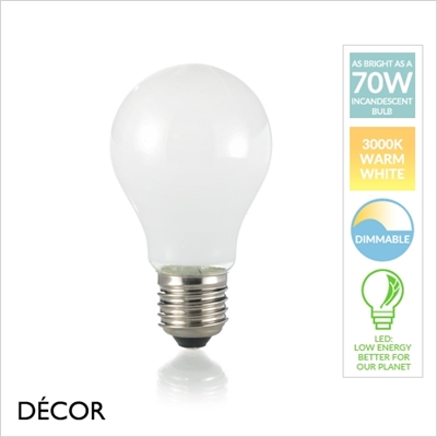 E27 8W LED WHITE BULB 3000K, DIMMABLE