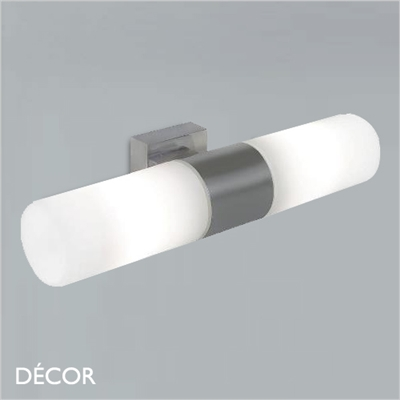 TANGENS WALL LIGHT, BRUSHED STEEL, DOUBLE