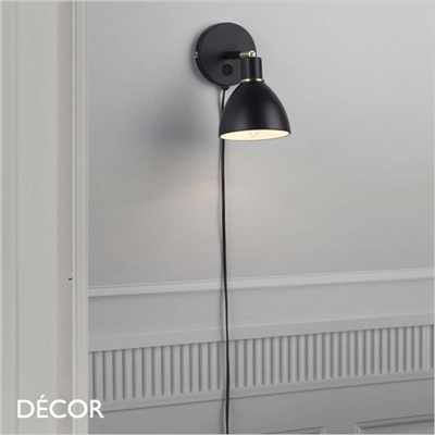 RAY WALL LIGHT, BLACK & BRASS