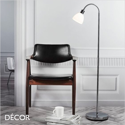 RAY FLOOR LAMP, OPAL WHITE GLASS & CHROME