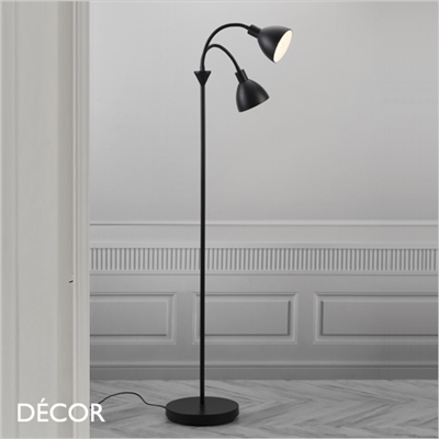 RAY FLOOR LAMP, DOUBLE, BLACK & BRASS