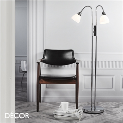 RAY FLOOR LAMP, DOUBLE, DIMMABLE, OPAL WHITE GLASS & CHROME