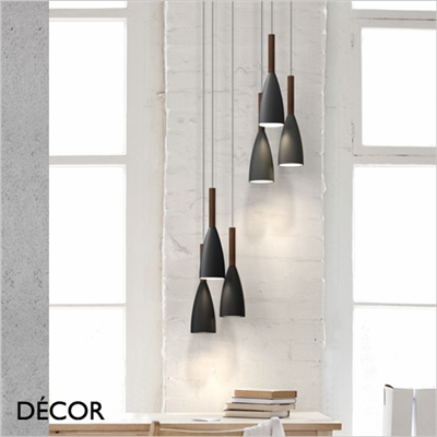 PURE PENDANT LIGHT, BLACK & WALNUT