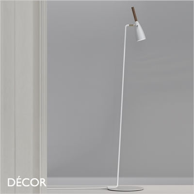 PURE FLOOR LAMP, WHITE & WALNUT